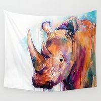rhino Wall Tapestries featuring Rhino by Slaveika Aladjova
