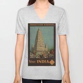 Vintage poster - India Unisex V-Neck