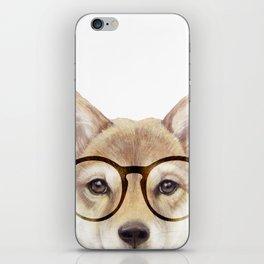 Shiba inu with glasses Dog illustration original painting print iPhone Skin
