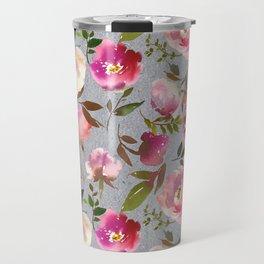 Gray blush pink coral yellow hand painted floral Travel Mug