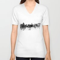 seoul V-neck T-shirts featuring Seoul skyline in black watercolor by Paulrommer