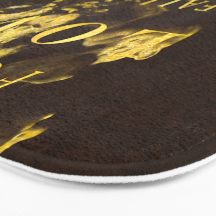 Forget love- fall in coffee- Typography in gold glitter Bath Mat