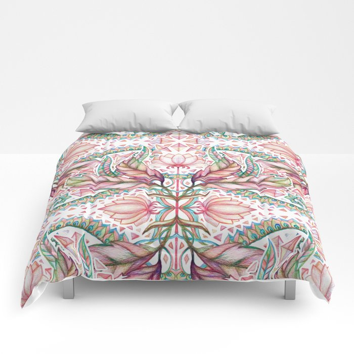 Lily, Leaf & Triangle Pattern – multi-color version Comforters