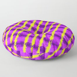 line pattern painting abstract background in purple and yellow Floor Pillow