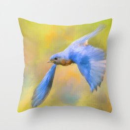 Bluebird Spring Flight Throw Pillow