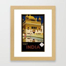 Vintage Visit India Golden Temple Travel Framed Art Print