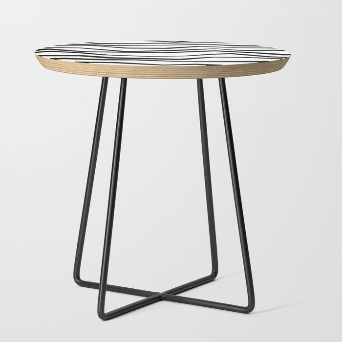 Black White Wavy Zig Zag Stripes Side Table By