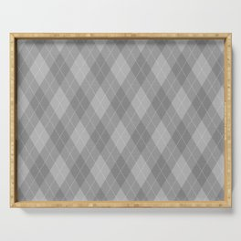 Argyle Fabric Pattern - Graphite Silver Gray / Grey Serving Tray