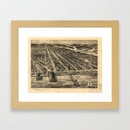 Vintage Pictorial Map of Asbury Park NJ (1910) Framed Art Print