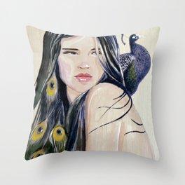 Shy Peacock Throw Pillow