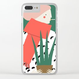 Woman in a red scarf Clear iPhone Case