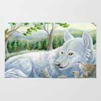 minnesota Area & Throw Rugs featuring Minnesota Wolves by MelanieLehnen