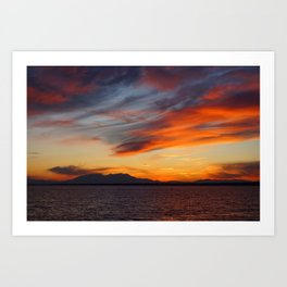 marvelous sunset over the sea Art Print