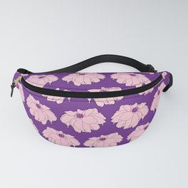 Pink Dahlia Flower Illustrated Print Fanny Pack