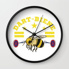 A cute and unique illustration of a bee with dart board and an Arrow Dart Board Arrows Stripe Yellow Wall Clock