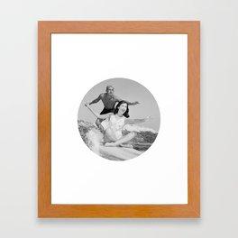 Tandem Couple Surfing Framed Art Print