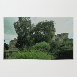 Warwick Castle Bathed in Green Light Rug
