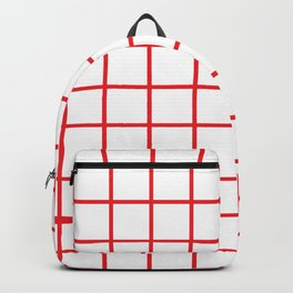 Red Grid Pattern Backpack