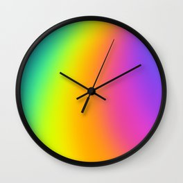 Bright Curved Rainbow Gradient Wall Clock
