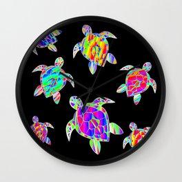 Turtle full color multicolor happy color Tortues multicolores Wall Clock