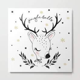 Cute doe christmas design. Metal Print