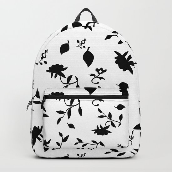 Black and white floral pattern . Backpack