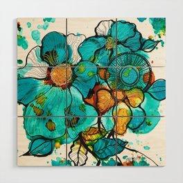 Aqua Bouquet Wood Wall Art