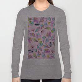 Summer Seashells in Girly Painted Watercolor Paint Long Sleeve T-shirt