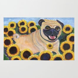 Pug in Sunflowers Rug