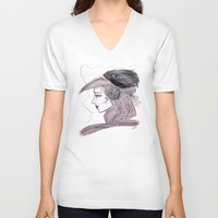 headdress V-neck T-shirts featuring Headdress by Avedon Arcade