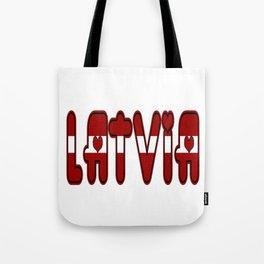 Latvia Font with Latvian Flag Tote Bag