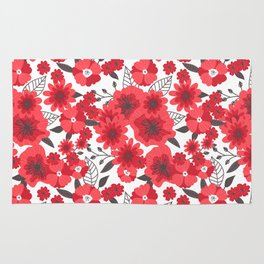 Red flowers pattern 4 Rug