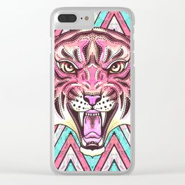 Pink Tiger Chevron Clear iPhone Case
