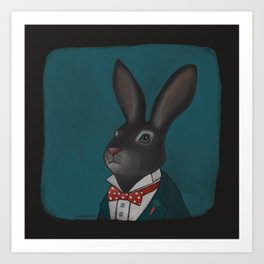 Mr O'Hare in a red bow tie  Art Print