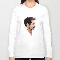 robert downey jr Long Sleeve T-shirts featuring Robert Downey Jr Geometric Style by JamiePowellPrints