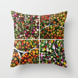 Tulips from Holland - pink, purple, red Throw Pillow