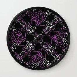 Dark Vintage Lace Pattern Wall Clock