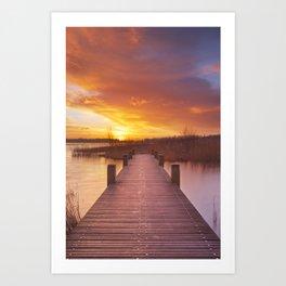 II - Boardwalk over water at sunrise, near Amsterdam The Netherlands Art Print