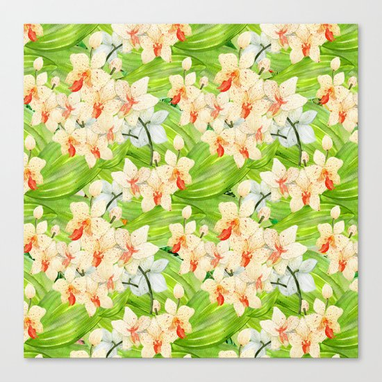Tropical Floral Orchid Flower Pattern - Flowers on #Society6 Canvas Print
