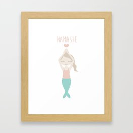 Namaste Yoga Mermaid Lady with Peace in Mind - International Yoga Day Framed Art Print