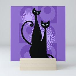 Purple Paradise Atomic Age Black Kitschy Cats Mini Art Print