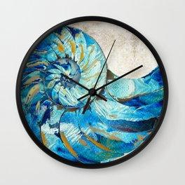 Tropical Blue Beach Art - Nautilus Shell Bleu 2 - Sharon Cummings Wall Clock
