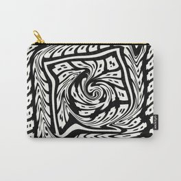 WARPED black and white warped concentric design Carry-All Pouch