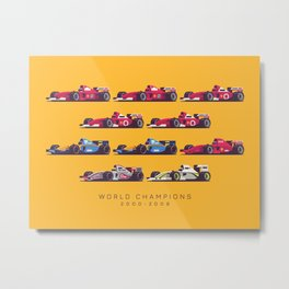 F1 World Champions 2000s - Yellow Metal Print