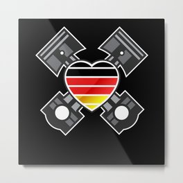 German Cars Engineering Piston Heart Metal Print