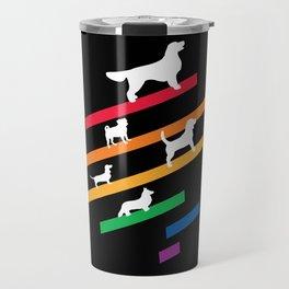 Cosmic Rainbow Dogs - Stripes and Silhouettes Travel Mug