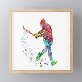 Girl Field Hockey 2 Colorful Watercolor Art Field Hockey Gift Girl's Room Decor Framed Mini Art Print