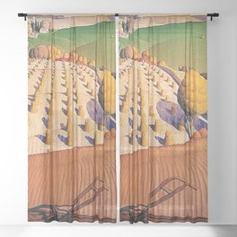 Classical Masterpiece 'Fall Plowing' by Grant Wood Sheer Curtain