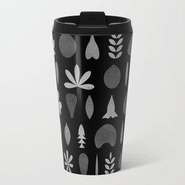 Leaf Shapes and Arrangements Pattern Greyscale Travel Mug