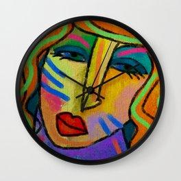 Abstract Digital Painting of a Woman Wall Clock